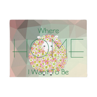 Pastel Tone Flowery Sheep Design Doormat