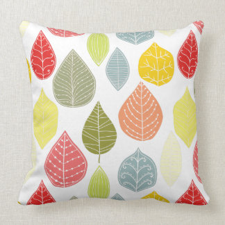 Pastel Tones Fall Leafs Pattern 2 Throw Pillow