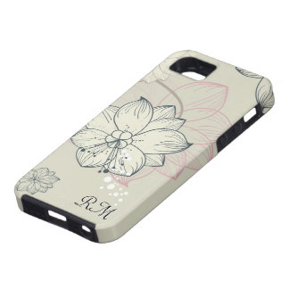 Pastel Tones Hand Drawn Floral Retro Design iPhone 5 Covers