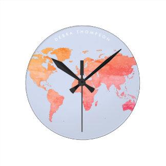 pastel tones map of the world clock