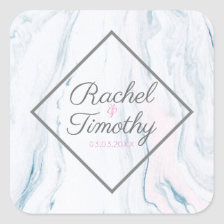 Pastel Tones Marble Stone- Save The Date Square Sticker