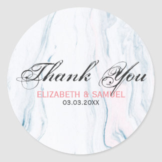 Pastel Tones Marble Stone- Thank You Classic Round Sticker