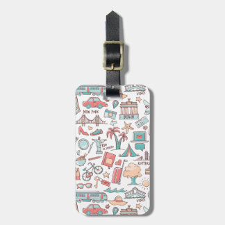 Pastel Tourist Pattern Luggage Tag
