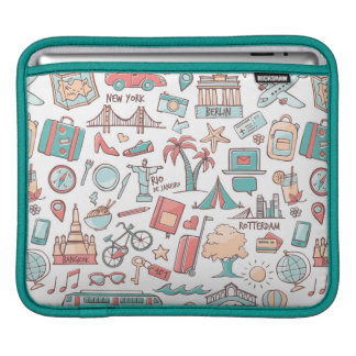 Pastel Tourist Pattern Sleeve For iPads