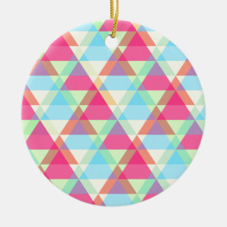 Pastel triangles ceramic ornament