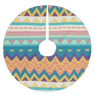 Pastel tribal design brushed polyester tree skirt