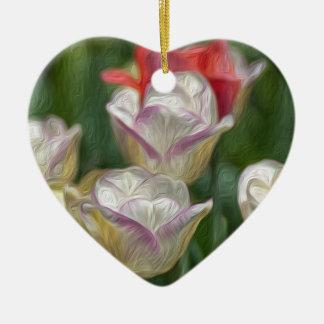 Pastel Tulips Ceramic Heart Decoration