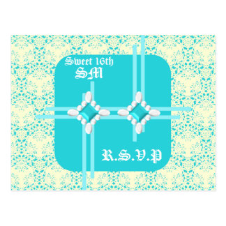 Pastel Turqouise Sweet 16th RSVP Postcard 2 w/ LB