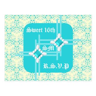 Pastel Turqouise Sweet 16th RSVP Postcard w/ LB