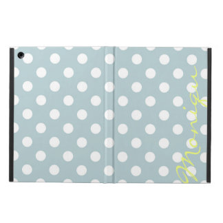 pastel turquoise & white dots with name cover for iPad air