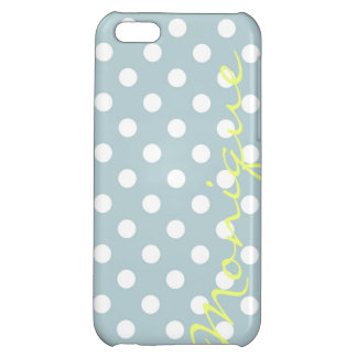 pastel turquoise & white dots with name cover for iPhone 5C