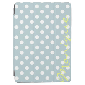pastel turquoise & white dots with name iPad air cover