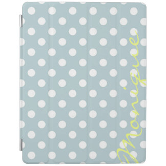 pastel turquoise & white dots with name iPad cover