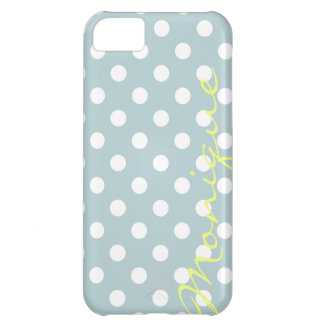 pastel turquoise & white dots with name iPhone 5C case