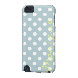 pastel turquoise & white dots with name iPod touch (5th generation) case
