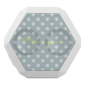 pastel turquoise & white dots with name white bluetooth speaker