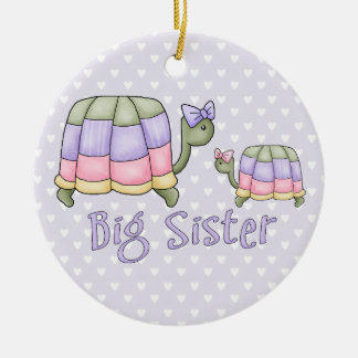 Pastel Turtles Big Sister Round Ceramic Decoration