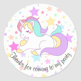 Pastel Unicorn and Stars Party Bag Stickers