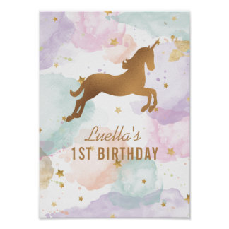 Pastel Unicorn Birthday Party Sign