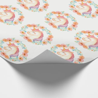 Pastel Unicorn, Floral Wreath Wrapping Paper