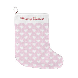 Pastel Valentine Hearts Large Christmas Stocking