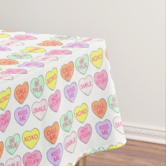 Pastel Valentine's Day Candy Hearts Love Print Tablecloth