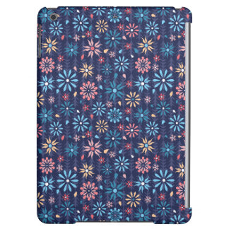 Pastel vintage flowers on navy background cover for iPad air