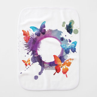 Pastel Watercolor Butterflies Around a Ring Burp Cloth