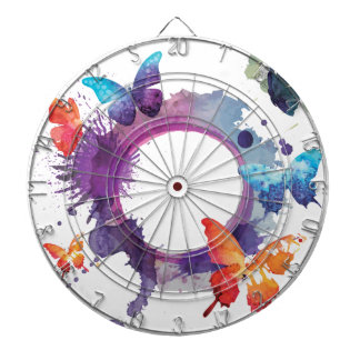 Pastel Watercolor Butterflies Around a Ring Dartboard