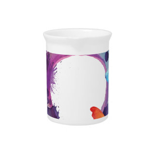 Pastel Watercolor Butterflies Around a Ring Pitcher