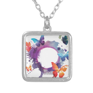 Pastel Watercolor Butterflies Around a Ring Silver Plated Necklace