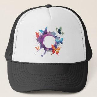 Pastel Watercolor Butterflies Around a Ring Trucker Hat