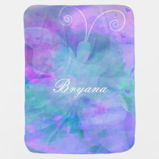 Pastel Watercolor Butterfly Personalized Custom Baby Blanket