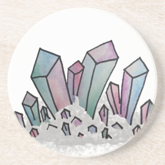 Pastel Watercolor Crystal Cluster Coaster