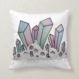 Pastel Watercolor Crystal Cluster Pillow
