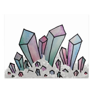 Pastel Watercolor Crystal Cluster Postcard