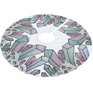 Pastel Watercolor Crystal Cluster Tree Skirt