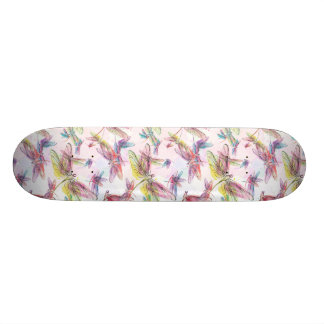 Pastel Watercolor Dragonflies Skateboard