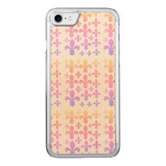 Pastel Watercolor Fleur de Lis Multicolor Carved iPhone 8/7 Case