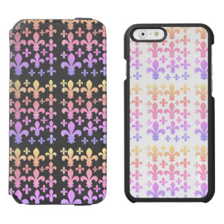 Pastel Watercolor Fleur de Lis Multicolor Incipio Watson™ iPhone 6 Wallet Case