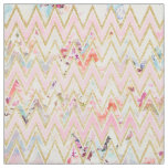 Pastel watercolor floral pink gold chevron pattern fabric
