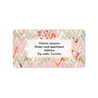 Pastel watercolor floral pink gold chevron pattern address label