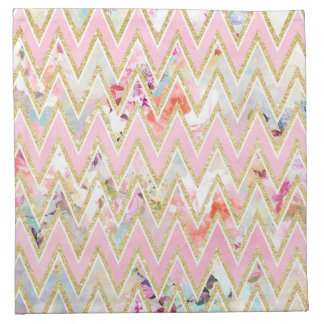 Pastel watercolor floral pink gold chevron pattern napkin