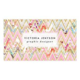 Pastel watercolor floral pink gold chevron pattern pack of standard business cards