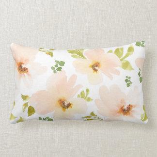 Pastel Watercolor Flowers. Watercolor Flower Gift Lumbar Pillow