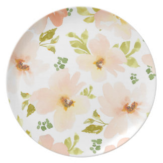 Pastel Watercolor Flowers. Watercolor Flower Gift Plates