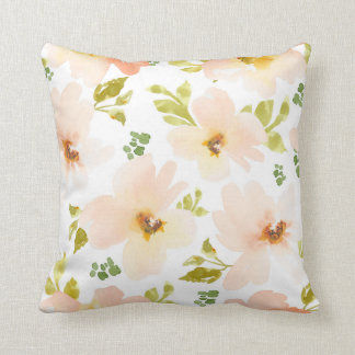 Pastel Watercolor Flowers. Watercolor Flower Gift Throw Pillow