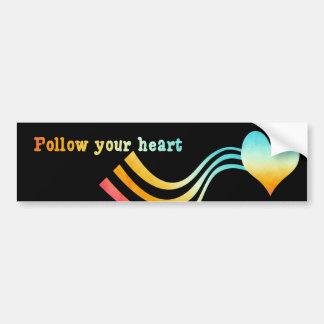 Pastel Watercolor Follow Your Heart Bumper Sticker