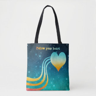 Pastel Watercolor Follow Your Heart Tote Bag
