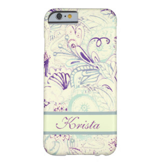 Pastel Watercolor Paisley w/Full Name Monogram Barely There iPhone 6 Case
